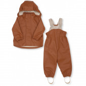 Konges Slojd Rainwear set with solid cotton lining Caramel