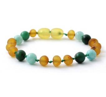 Raw amber bracelet Jade and Amazonite