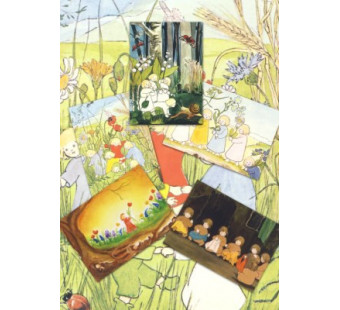 Set van 5 wortelkinderen kaarten
