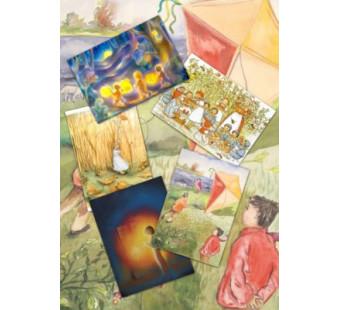 Set van 5 kaarten 'Kinderen in de herfst'