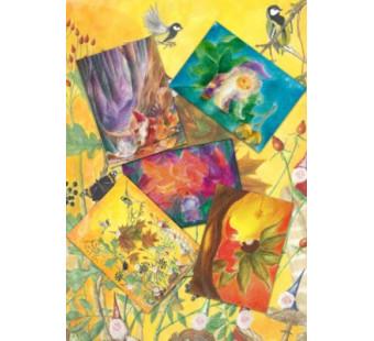 Set van 5 kaarten 'Dwergenin de herfst'