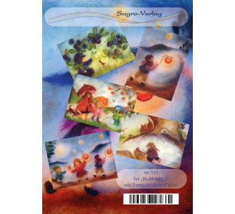 Set van 5 kaarten 'wolschilderijtjes' 1