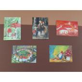 Set of 5 postal cards mushrooms