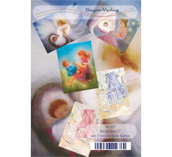 Set of 5 postal cards Birth
