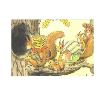 Postkaart Eekhoornfamilie (Elsa Beskow)