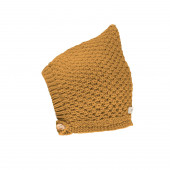 Pure Pure knitted pixie hat wool/silk/cotton ochre