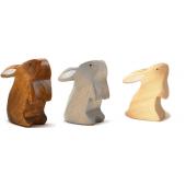 Brindours houten konijntje grijs, naturel en bruin staand