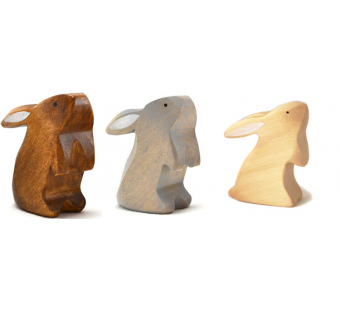 Brindours wooden rabbit standing grey natural and brown