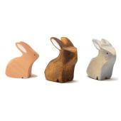 Brindours houten konijntje grijs, naturel en bruin zittend