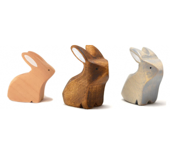 Brindours wooden rabbit sitting grey natural and brown