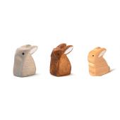 Brindours houten konijntje grijs, naturel en bruin klein zittend