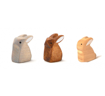 Brindours wooden small rabbit sitting grey natural and brown