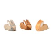 Brindours houten konijntje grijs, naturel en bruin klein liggend