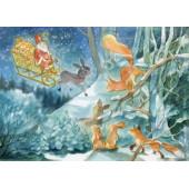 Postkaart sint nicolaas bij de dieren Ilona Bock