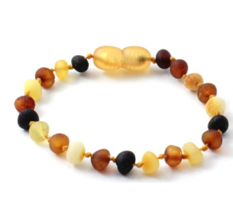 Raw amber bracelet for babies and children multi colour