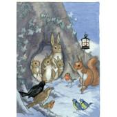 postkaart A Rabbit Carrying a Christmas Tree (Molly Brett) 092