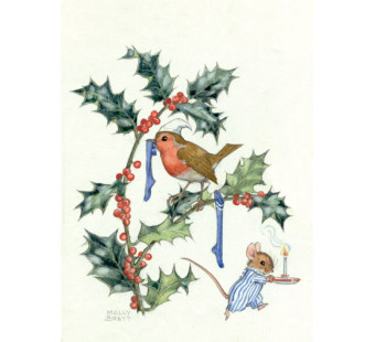 Postal card   Christmas Robin And Mouse  (Molly Brett) 276