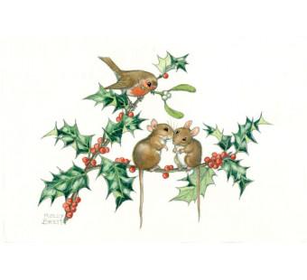 Postal card Birds and Holly Christmas Kissing Mice (Molly Brett) 277