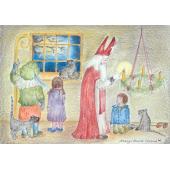 Postkaart Sinterklaas steekt de adventskaarsen aan - Eentje van Margo