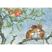 postkaart Hedgehog Carrying Mistletoe And Presents  (Molly Brett) 194