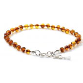 Amber adult Anklet with silver Cognac