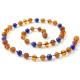 amber necklace cognac with Lapis Lazulli
