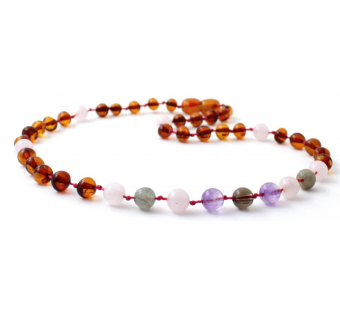 Amber necklace cognac with Labradorite, Quartz and Amethyst