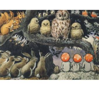 Postkaart paddestoelenkindjes bij de dieren (Elsa Beskow)