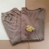 Green Rose merinowollen borstvoedingspyjama bruin