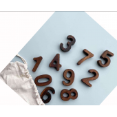 Montessori set 0f numbers 0-9 in walnut
