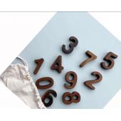 Montessori set van 0-9 in walnoot cijfers