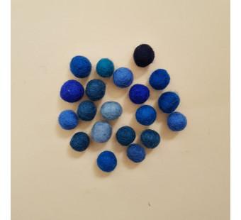 montessori vilten balletjes ongeveer 15mm blauw