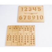 Montessori 1 to 10 reversible number tracing & counting board with wooden balls