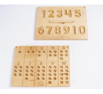 Montessori houten cijferbord 1-10 met houten balletjes