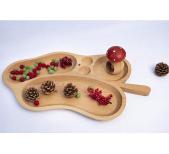 Montessori wooden sorting tray leaf