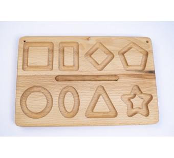 Montessori houten bord met geometrische figuren tweezijdig
