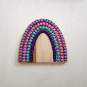 Montessori Sensory Rainbow with woolfelted balls pink purple
