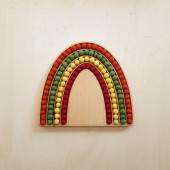 Montessori Sensory Rainbow with woolfelted balls yellow orange red green