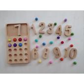 Montessori 20 math board wool felt balls