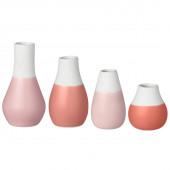 Raeder set van 4 mini vaasjes roze-rood tinten