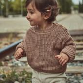 Poudre Organic knitted cotton sweater Pull Pissenlit Noix de Cajou