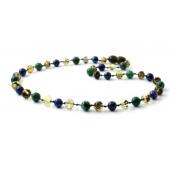 Barnsteen ketting groen met Lapis Lazuli en Afrikaanse Jade