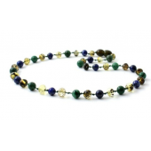 Green Amber Polished Teething Necklace Mixed With Lapis Lazuli and African Jade