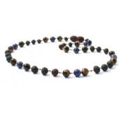 Barnsteen ketting cherry kleurig ongepolijst met tijgeroog en lapis lazuli