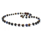 Raw Cherry Amber Necklace Mixed With Tiger Eye and Lapis Lazuli