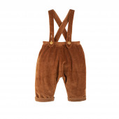 Pure Pure nickey velours pants with suspenders navy