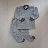 Lilano brushed woolen two piece pyjama  grey striped