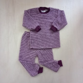 Lilano brushed woolen two piece pyjama  purple striped