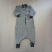 Lilano woolplush sleeping bag with feet grey striped