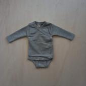 Lilano wool silk wrap around body grey striped